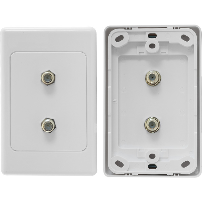 PR3860 TWIN 'F' TYPE TV WALL PLATE