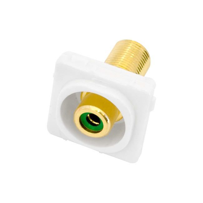 PK4648 GREEN RCA SOCKET TO 'F' SOCKET CLIPSAL INSERT